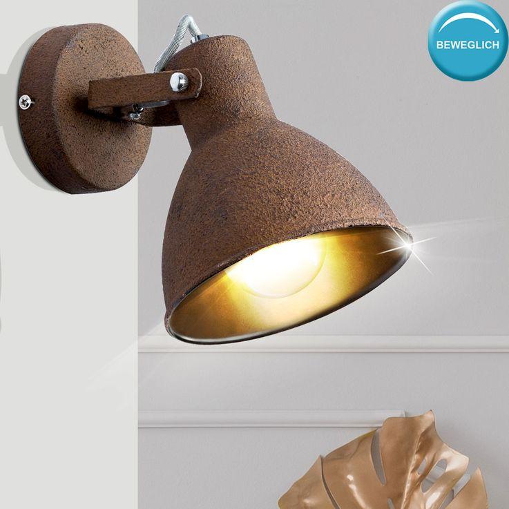 Vintage Wand Lampe rost Wohn Arbeits ZImmer Retro Beleuchtung Spot verstellbar Globo 54263-1 – Bild 2
