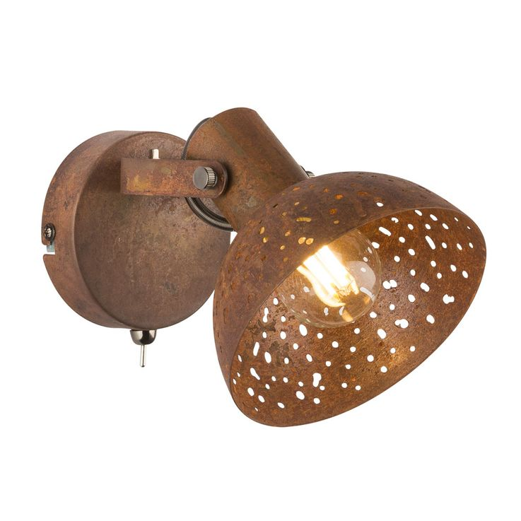 Wall steel decor punching living room spot lamp adjustable reading lamp rust color  Globo 54652-1 – Bild 1