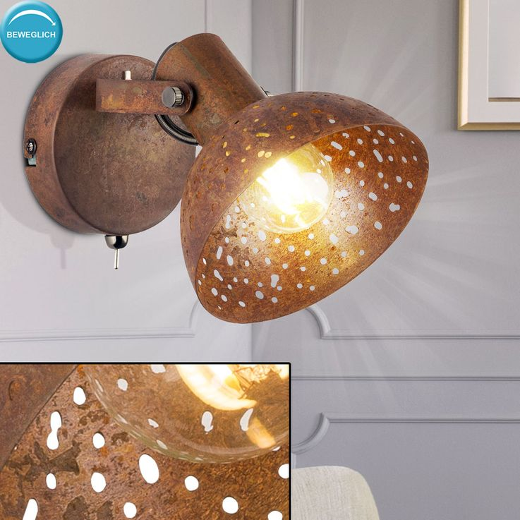 Wall steel decor punching living room spot lamp adjustable reading lamp rust color  Globo 54652-1 – Bild 3