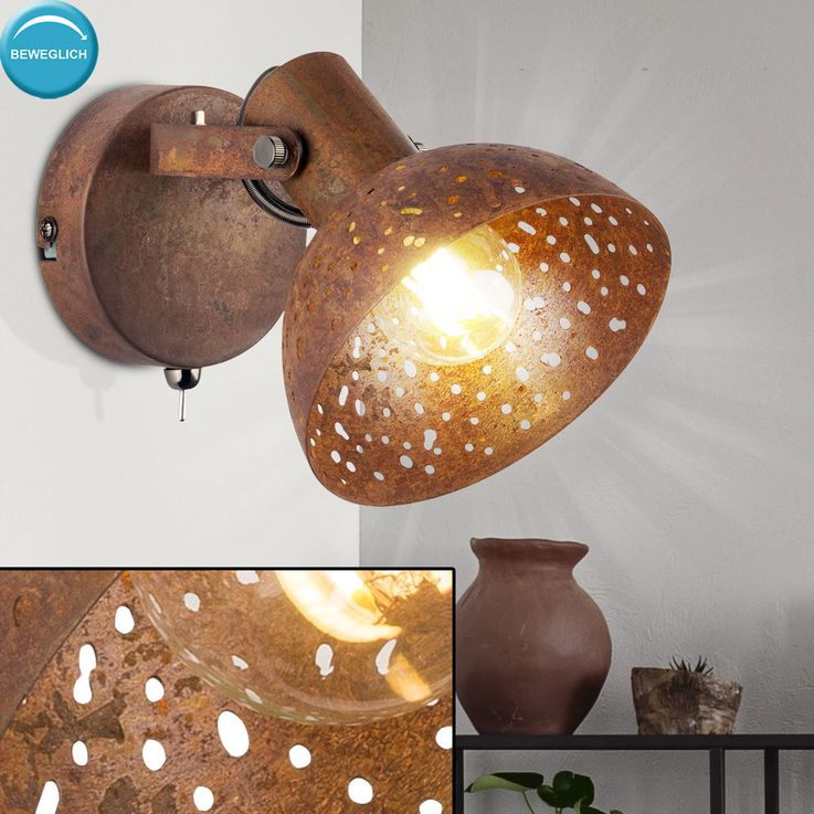Wall steel decor punching living room spot lamp adjustable reading lamp rust color  Globo 54652-1 – Bild 2