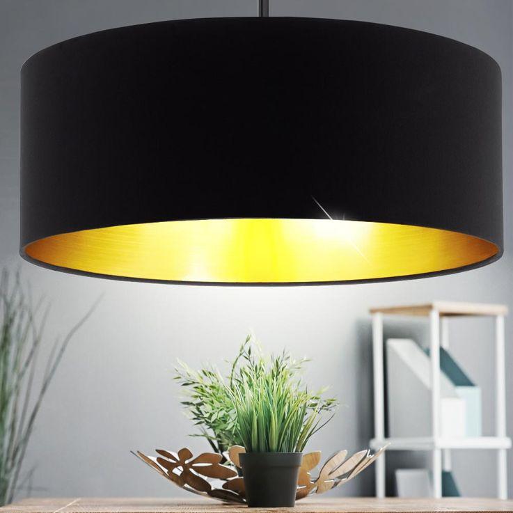 Design hanging light living room lighting height adjustable textile ceiling hanging lamp black gold – Bild 2