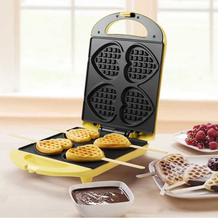 Waffle Iron Heart 4x Shapes Kitchens Automatic Nonstick Coated Chopsticks 780 Watt  Bestron DSW271 – Bild 2
