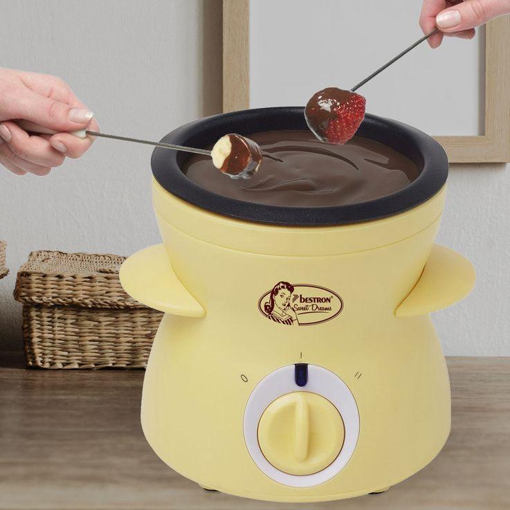 Chocolate fondue fountain fruit skewers 0.3 liter dish 2 heat settings yellow  Bestron DCM043 – Bild 2