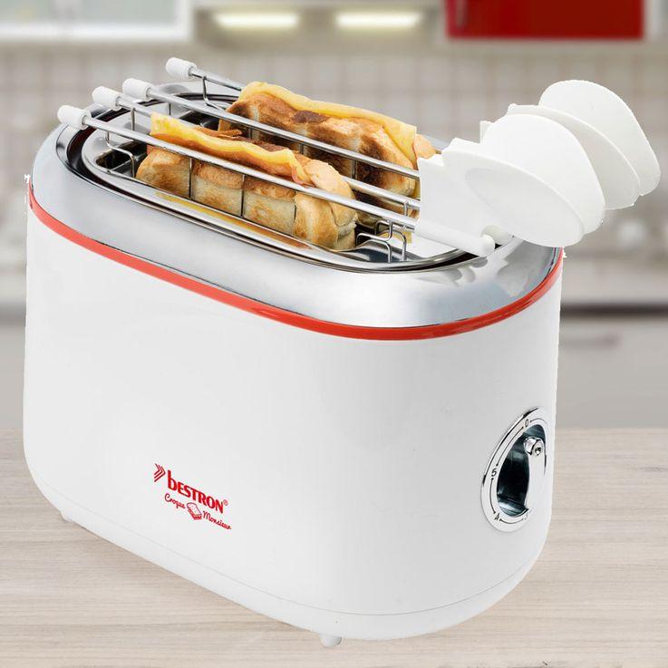 2 Scheiben Toaster Brötchen Aufsatz Sandwich Cool Touch Küchen Krümelschublade Bestron ATM200RE – Bild 2