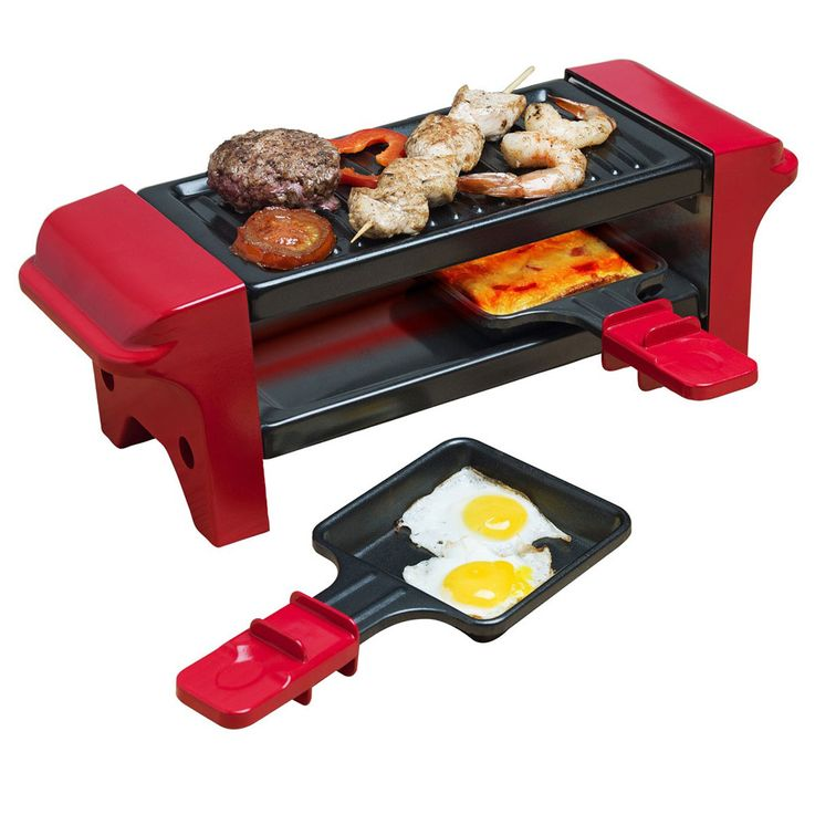 350 Watt Table Grill Party Raclette Pan Wooden Spatula Non Stick Black Red  Bestron AGR102 – Bild 3