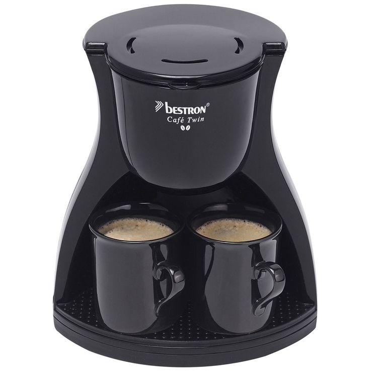 450W Dauer Filter Kaffee Maschine Küchen Büro Brüh Automat 1-2 Tassen schwarz Bestron ACM8007BE – Bild 3