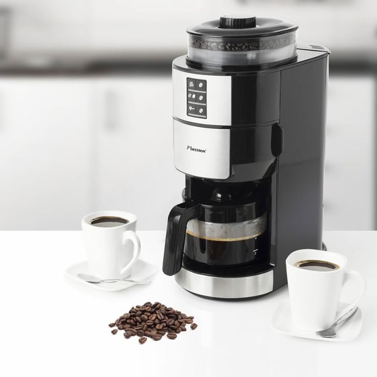 Beans powder coffee machines grinder duration filter glass jug hot plate  Bestron ACM1100G – Bild 2