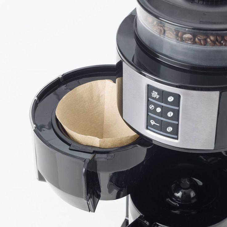 Bohnen Pulver Kaffee Maschinen Mahlwerk Dauer Filter Glas Kanne Warmhalte Platte Bestron ACM1100G – Bild 8