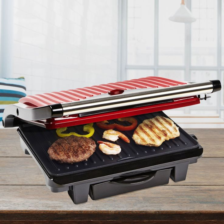 Panini Contact Electric Table Grill low fat 1000 Watt Sandwich Toast Maker red  Bestron ASW113R – Bild 2