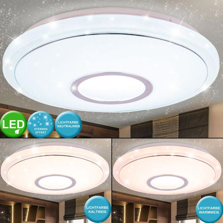 LED Ceiling Lamp Living Room Stars Sky Effect CCT Luminaire Chrome Ring Spotlight Bahag 41386  -16BH – Bild 2