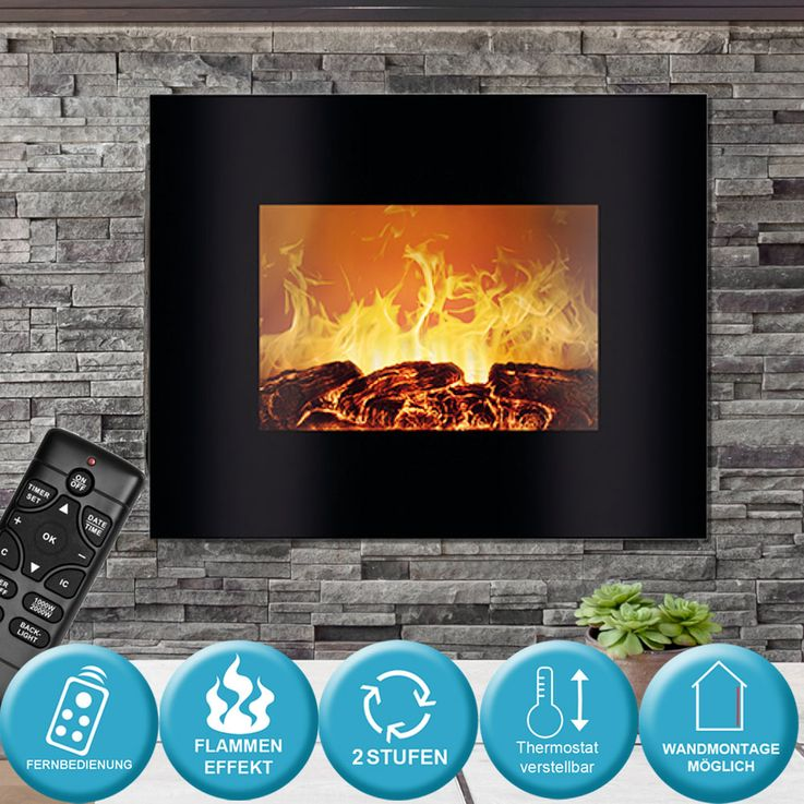 Wall Electric Glass Fireplace Living Room Flames Effect Display Remote Control 1800W  Bomann EK 6020 CB – Bild 2
