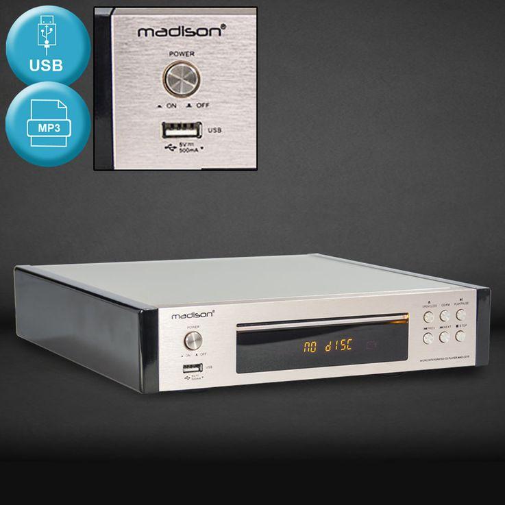 Vintage CD  Player Remote Control ALU Brushed Display FM  tuner USB MP3 WJG 2001015 – Bild 2
