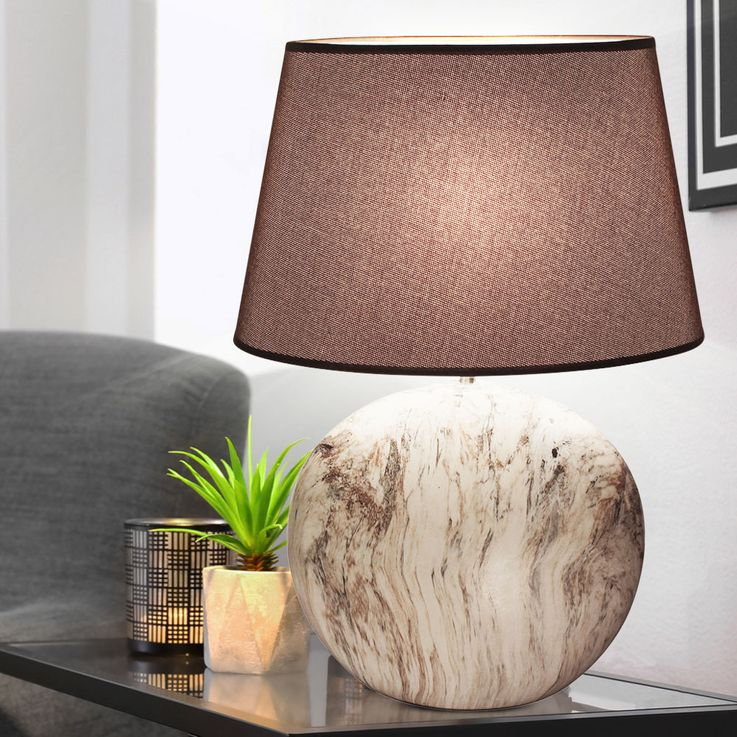 Ceramic Table Lamp beige Living Sleep Room Textile Reading Night Light Textile  Honsel  Leuchten 55561 – Bild 3