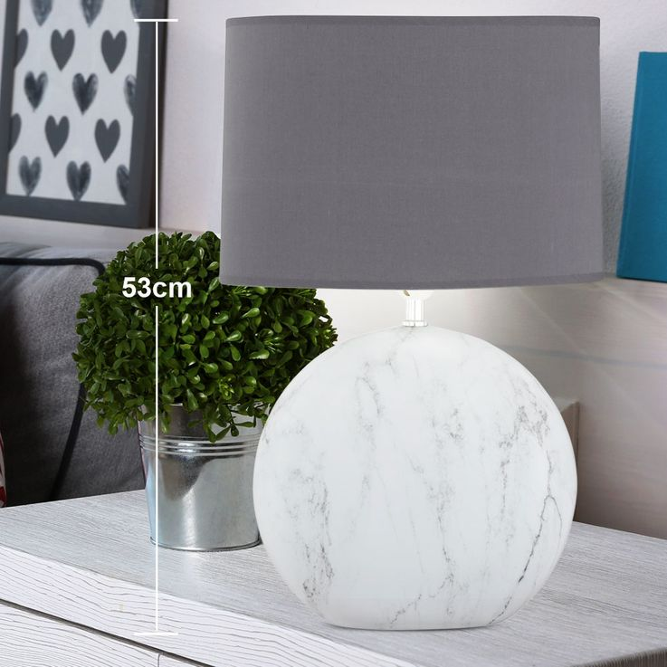Texti table lamp marble colored living working room ceramic light gray  Honsel  Leuchten 51284 – Bild 2