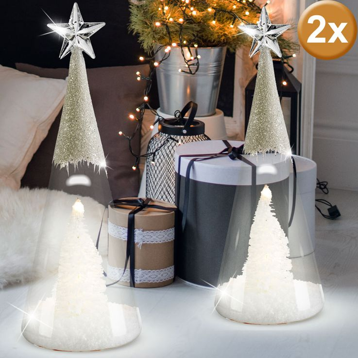 Set of 2 LED glass cones, tree with artificial snow and glitter effect – Bild 2