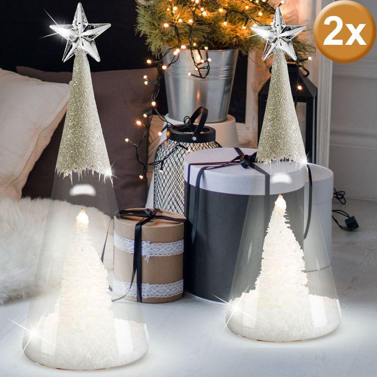 2er Set LED Glaskegel, Baum mit Kunstschnee und Glitzereffekt – Bild 2