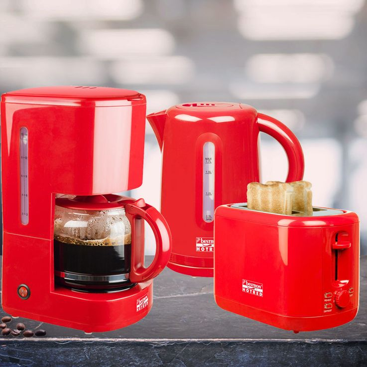 3eer breakfast set of 2  slices toaster filter coffee machine kettle heater wireless red – Bild 2