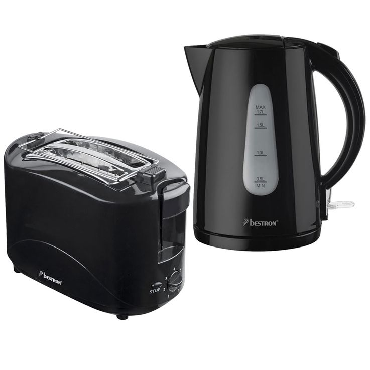 2er breakfast set 2  -slices toaster buns attachment water cooker heaters cordless black – Bild 1