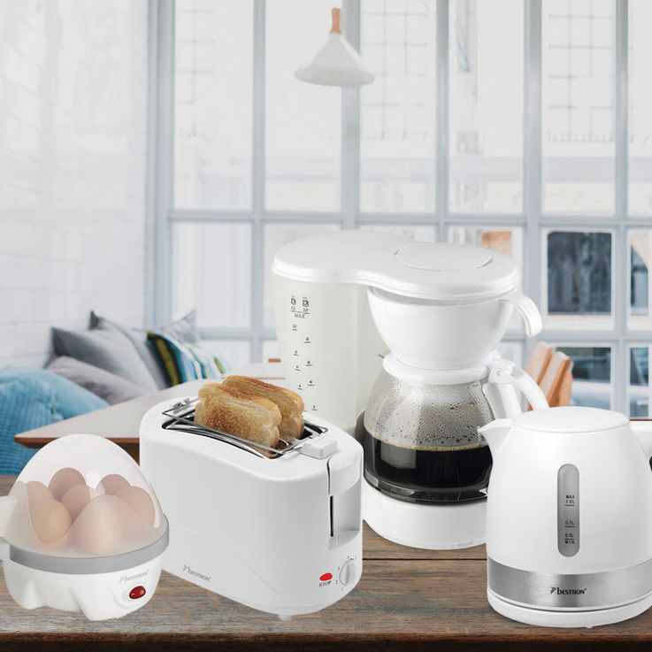 4pcs breakfast set coffee machine water eggs cooker 2  slices toaster white kitchen appliances – Bild 2
