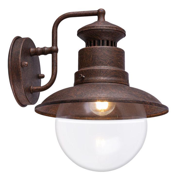 Außen Retro Wand Spot Lampe rostfarben Glas Stahl Terrasse Beleuchtung Garten Leuchte Globo 3272R – Bild 1