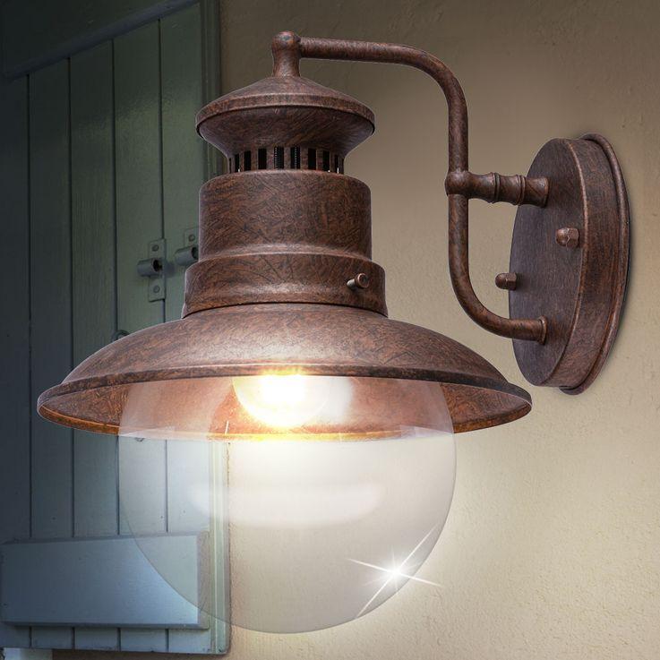 Außen Retro Wand Spot Lampe rostfarben Glas Stahl Terrasse Beleuchtung Garten Leuchte Globo 3272R – Bild 3