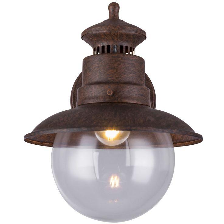 Außen Retro Wand Spot Lampe rostfarben Glas Stahl Terrasse Beleuchtung Garten Leuchte Globo 3272R – Bild 5