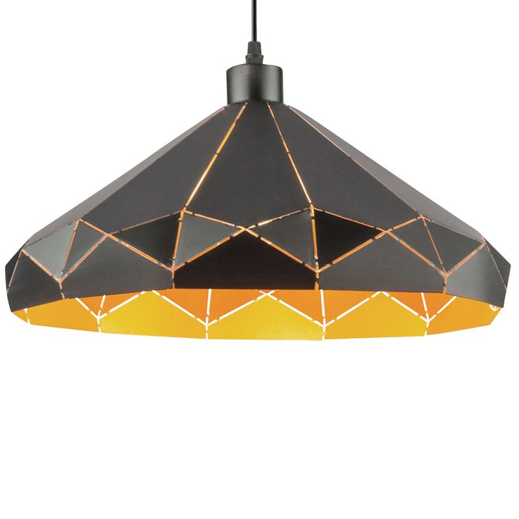 LED pendant lamp with pattern lampshade, black gold, D 40 cm – Bild 6