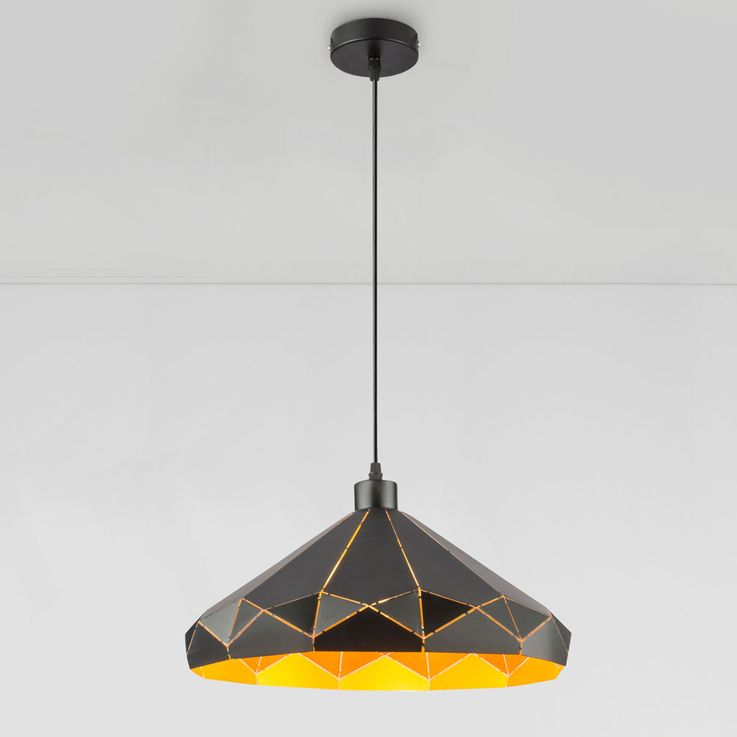LED pendant lamp with pattern lampshade, black gold, D 40 cm – Bild 8