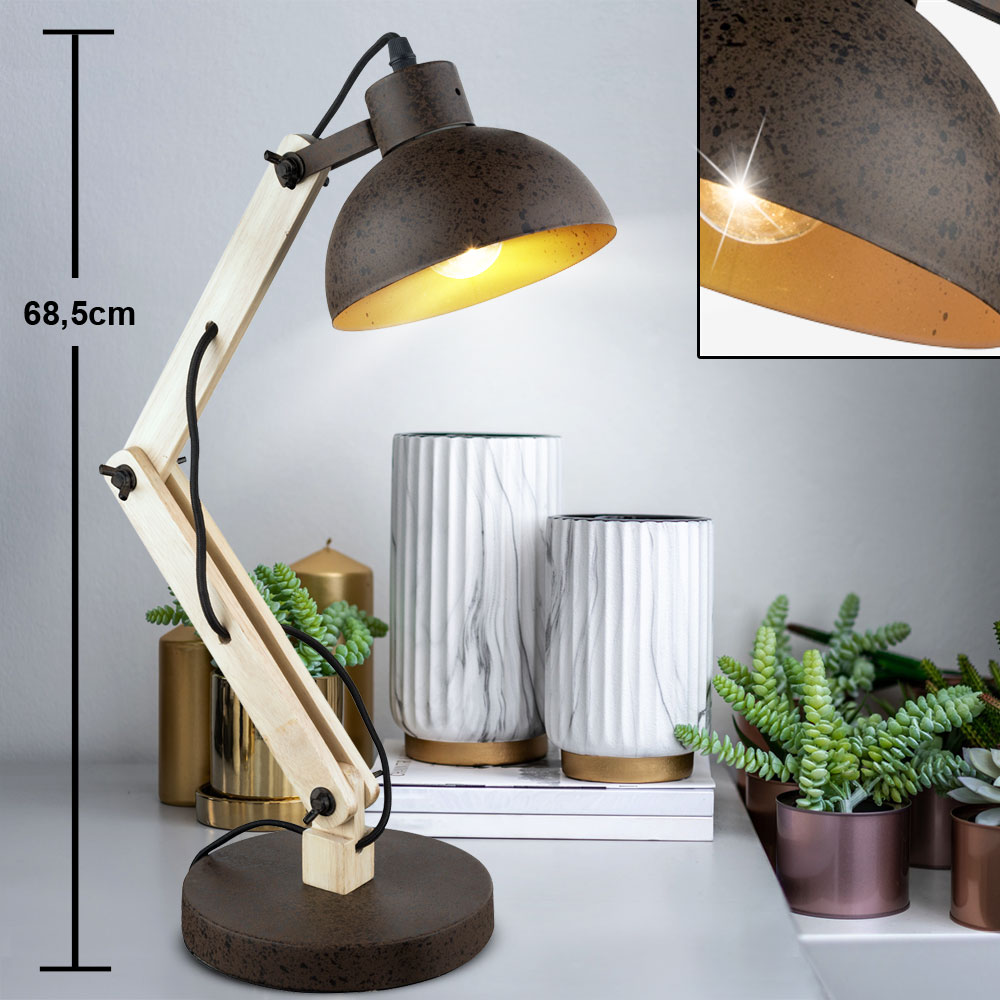 Led Writing Table Lamp Rust Joints Movable Living Working