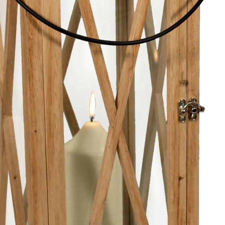Set of 2 deco wood stand lanterns country style light brown planks deco wind lights  Noor 61981 – Bild 3