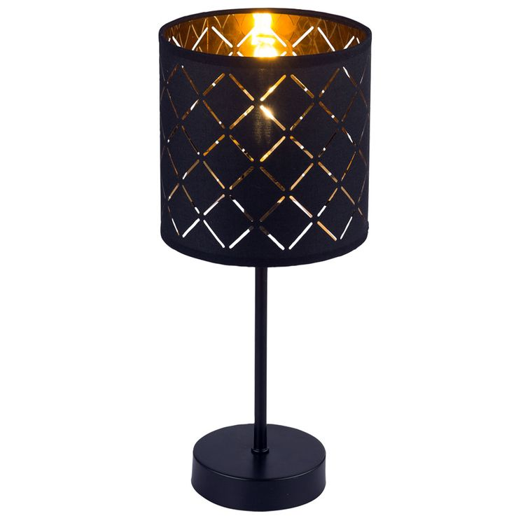 tischlampe textil schwarz gold h he 35 cm clarke lampen m bel r ume wohnzimmer. Black Bedroom Furniture Sets. Home Design Ideas