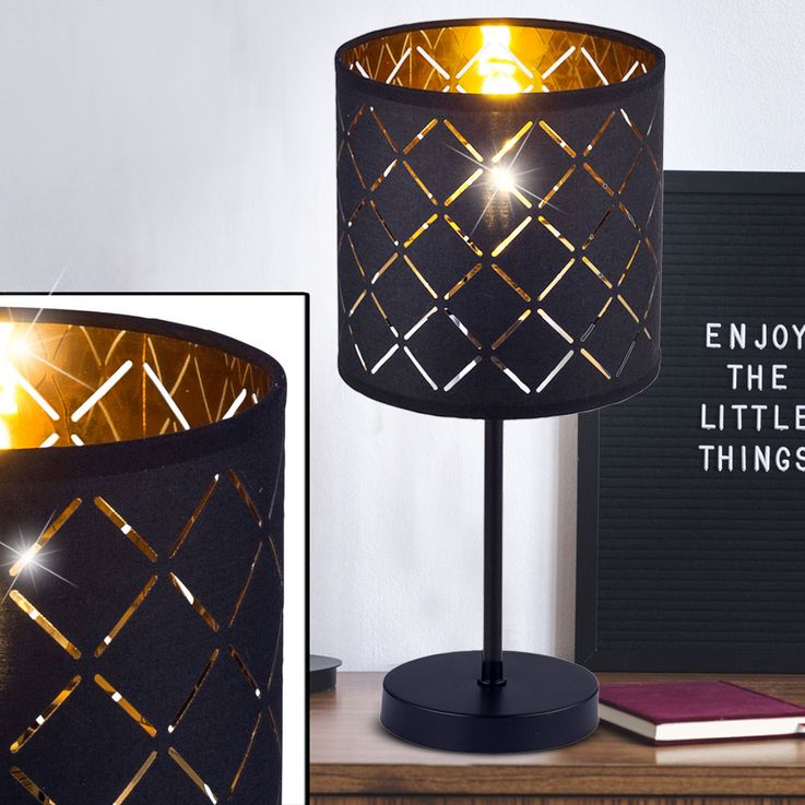 Design Table Lamp Sleep Guest Room Side Reading Lamp Textile Pattern Gold  Globo 152290T – Bild 3
