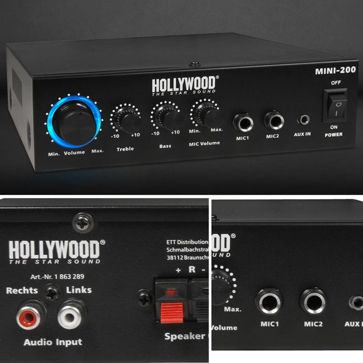 Sonorisation PA Party Boîtiers compacts pour amplificateur de musique Bluetooth MP3 Microphones Disco Strobe DJ  -MINI 3 – Bild 4