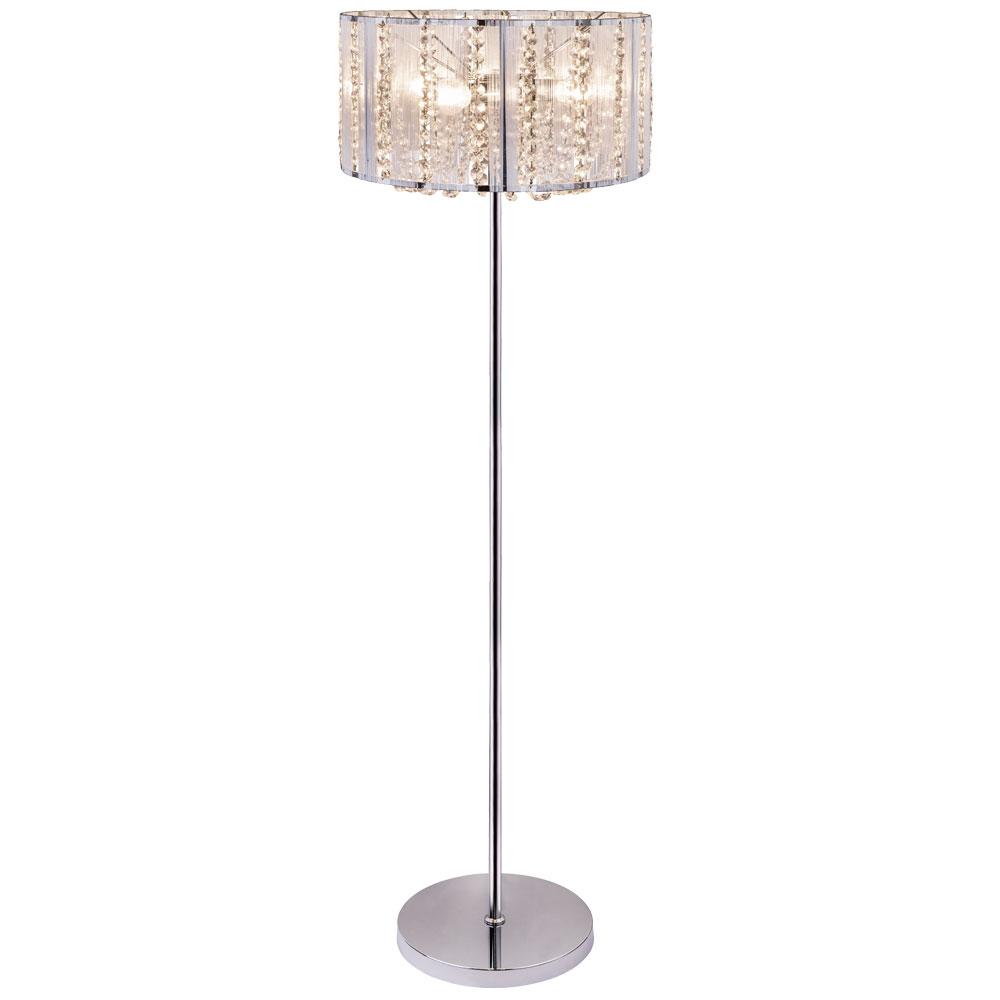 Led Crystal Floor Lamp Chrome Silver Metallic Height 150 Cm