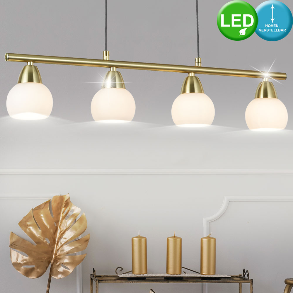 Design LED Wand Lampe Spots Decken Leuchte Messing-Glas Beleuchtung Ess Zimmer