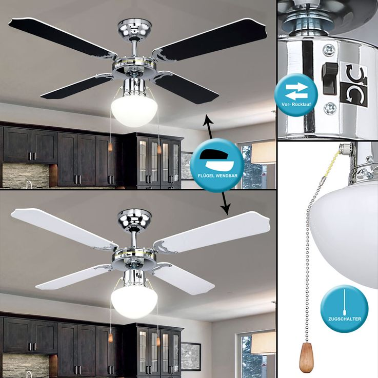 Ceiling fan chrome living room fan cool warm switch glass lamp  Globo 0309CSW – Bild 3