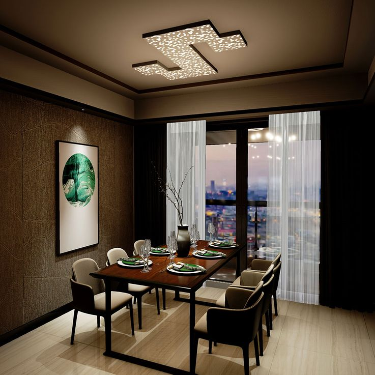 LED Deckenleuchte, schwarz, Sternenhimmeleffekt, Länge 30 cm – Bild 3