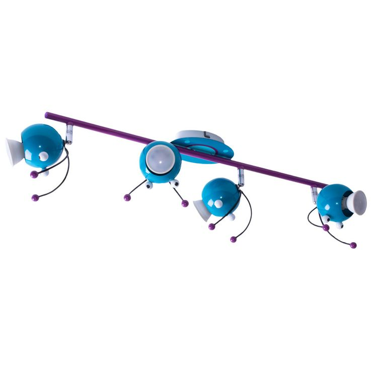 LED Kids Ceiling Spotlight Purple Turquoise Game Room Lamp Beetle Head Spots Adjustable  Eglo 95944 – Bild 1