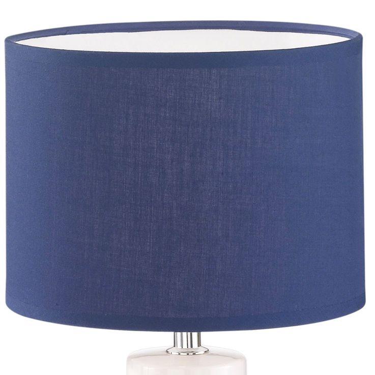 Lampe de bureau en céramique lampe de lecture en textile blanc bleu pour salon de travail HONSEL 50115 – Bild 5