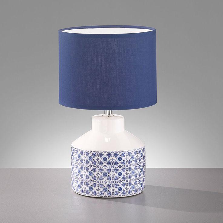 Lampe de bureau en céramique lampe de lecture en textile blanc bleu pour salon de travail HONSEL 50115 – Bild 4