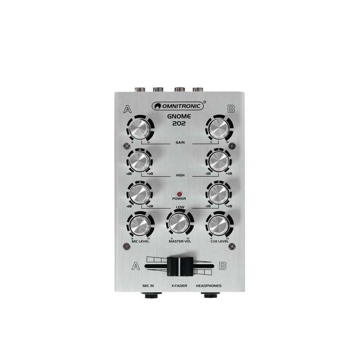 Mini Mischpult DJ PA Mixer 2-Kanal Controller Disco Party Mischer EQ silber – Bild 1