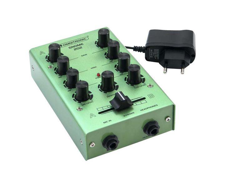 DJ PA Mixer 2-Kanal mini Mischpult Controller Disco Party Mischer EQ grün – Bild 2