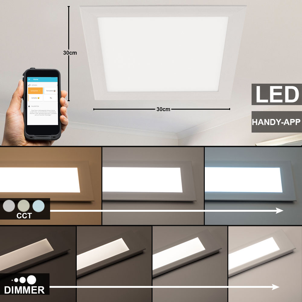Details about LED Ceiling Panel DIMMER Recessed Lamp Wifi App Daylight  Smart Home Light new