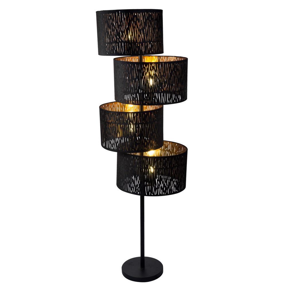 Led Samt Stehleuchte Schwarz Gold Hohe 150 Cm Tuxon Etc Shop