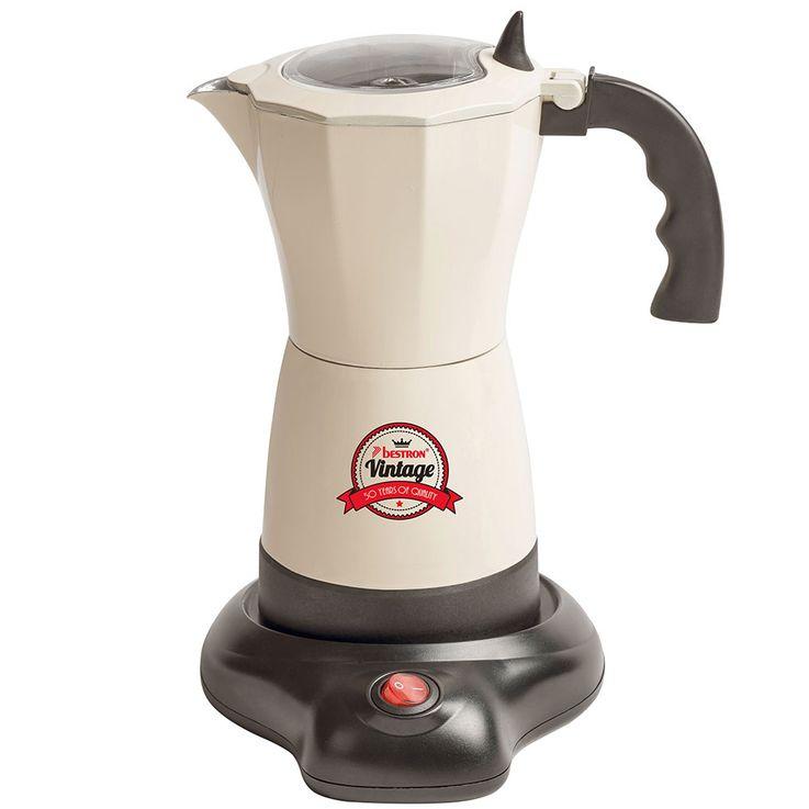 Vintage Stil Espresso Moka Kaffee Maschine Bereiter Koher Alu beige 6 Tassen Bestron AES500RE  – Bild 1
