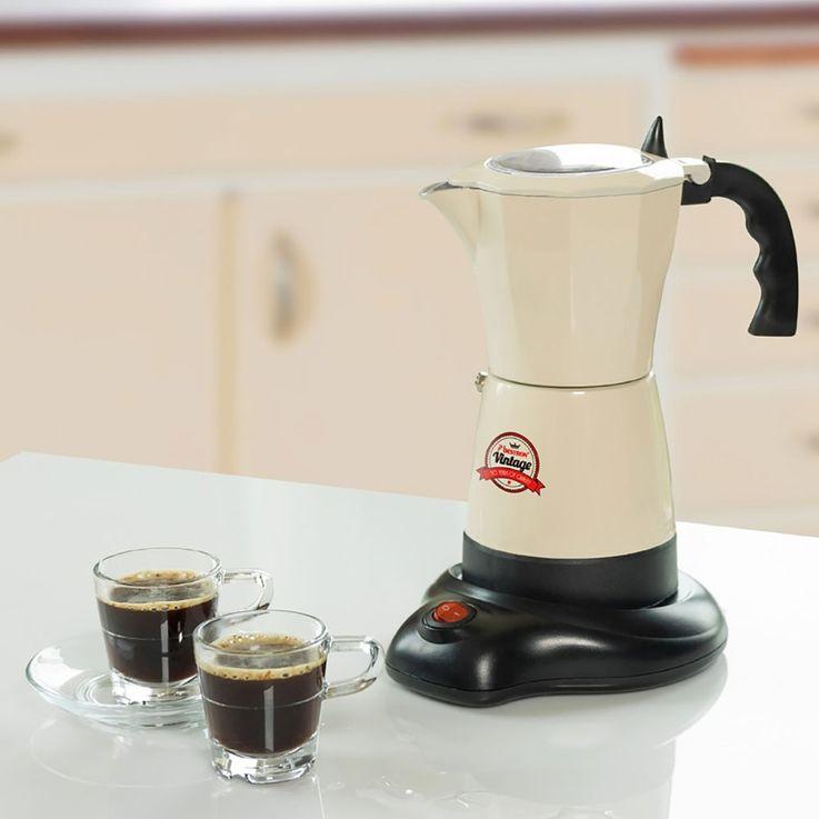 Vintage Stil Espresso Moka Kaffee Maschine Bereiter Koher Alu beige 6 Tassen Bestron AES500RE  – Bild 2