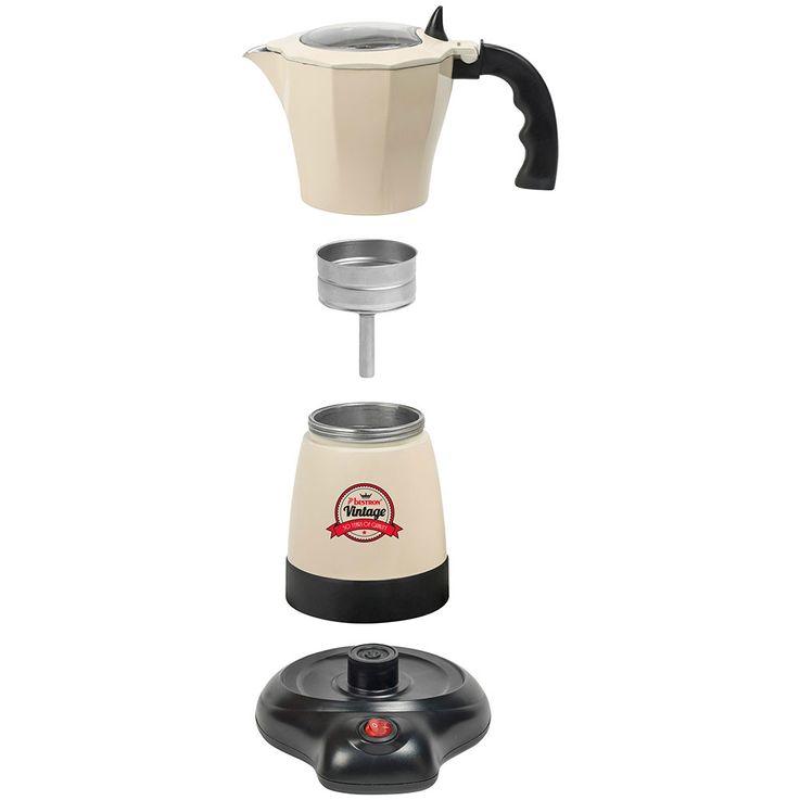 Vintage Stil Espresso Moka Kaffee Maschine Bereiter Koher Alu beige 6 Tassen Bestron AES500RE  – Bild 8
