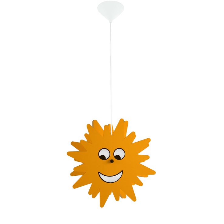 RGB LED children hanging lamp, wood yellow, sun design, D 38 cm – Bild 1
