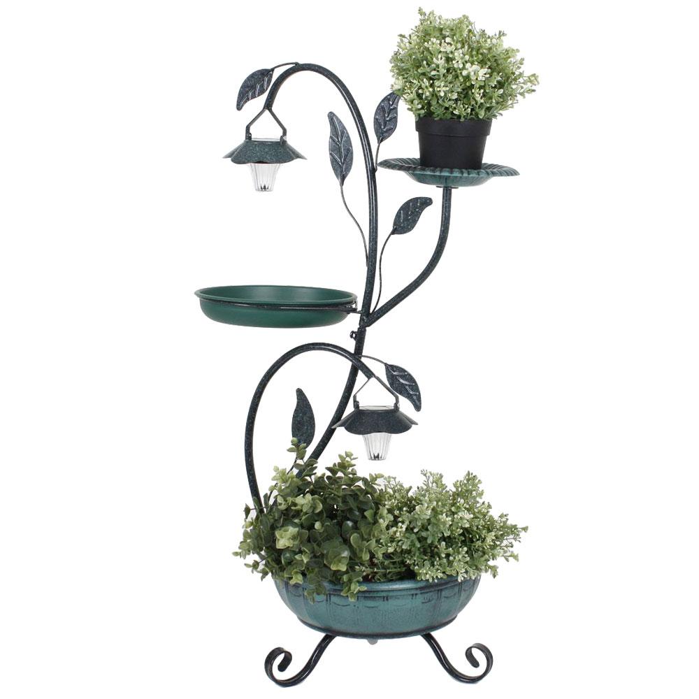 Gartendekoration - Pflanzständer mit Solarbeleuchtung mit Vogeltränke  - Onlineshop ETC Shop