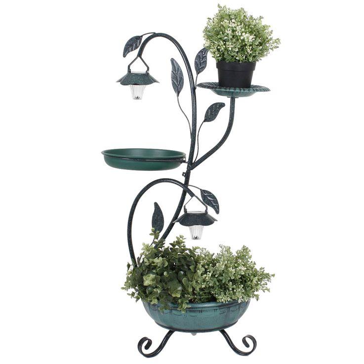Flower Plant Stands Saucer Bird Bath Outdoor Solar Stand Lamp Garden Bird Bath Green  Harms 315128 – Bild 1